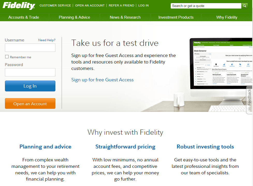 Fidelity Investment Website