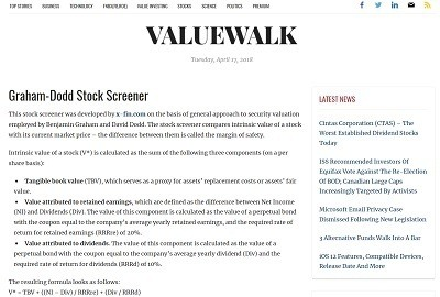 ValueWalk Website - Graham-Dodd Stock Screener