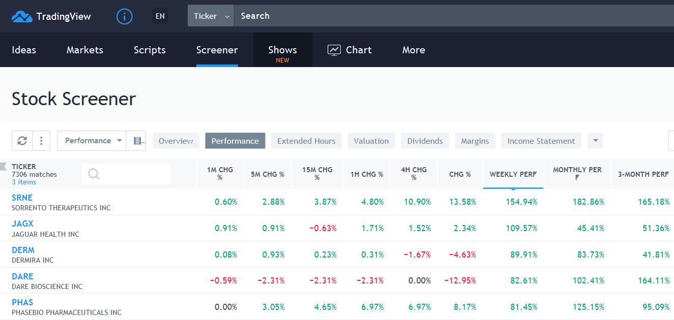 TradingView Stock Screener | Performance