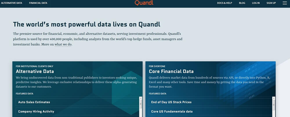 Quandl core financial data and-alternative data