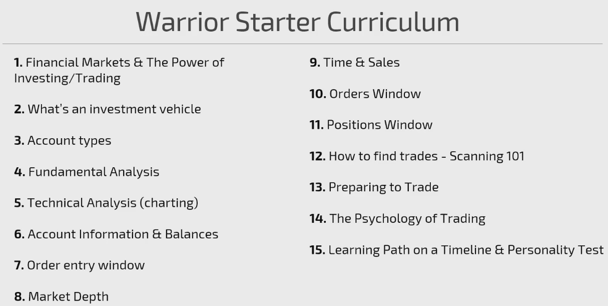 Warrior Trading Curriculum
