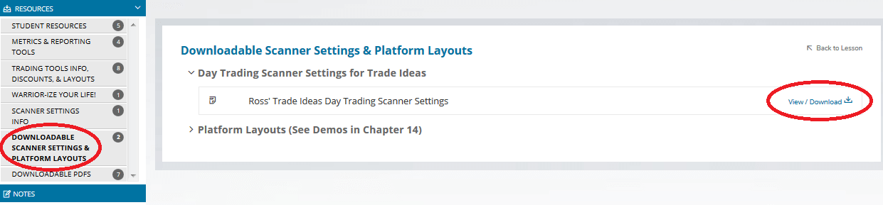 Warrior Trading Scanner Settings