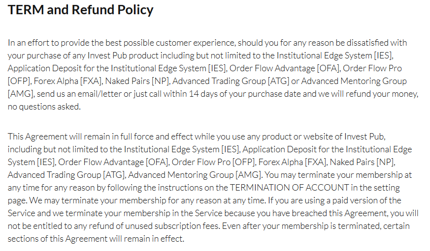 NOFT Traders refund policy