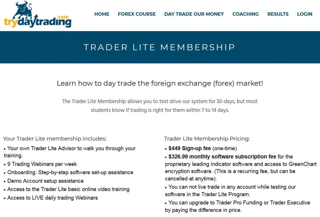 trydaytrading review - trader lite membership costs
