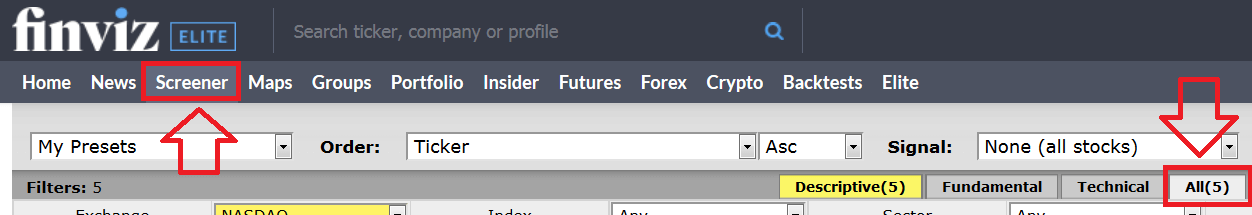 How to use finviz stock screener