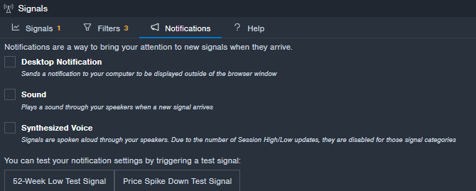 Benzinga Desktop Notification