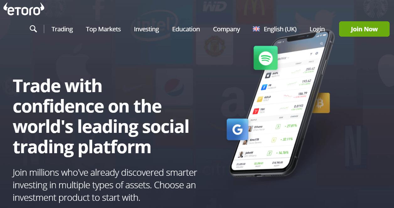 eToro cryptocurrency broker app