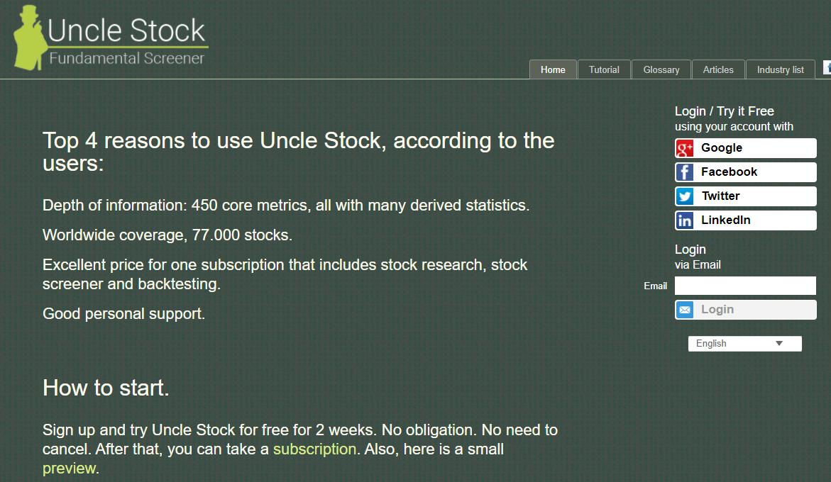 Uncle Stock Fundamental Stock Screener