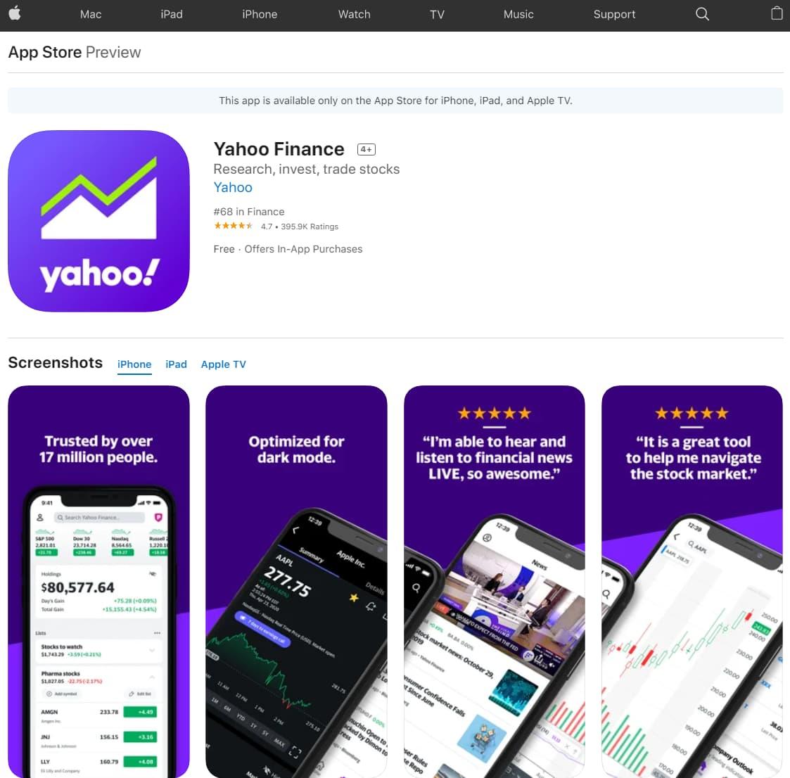 Best Stock Tracking App iPhone: yahoo finance