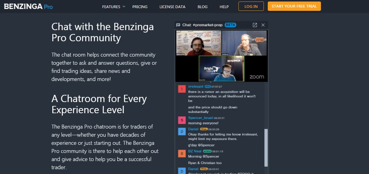 Benzinga Chat Room