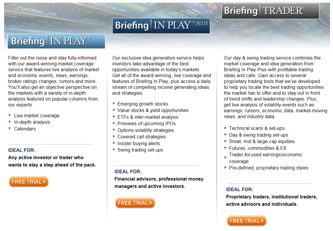 Tarifas de suscripción a Briefing.com
