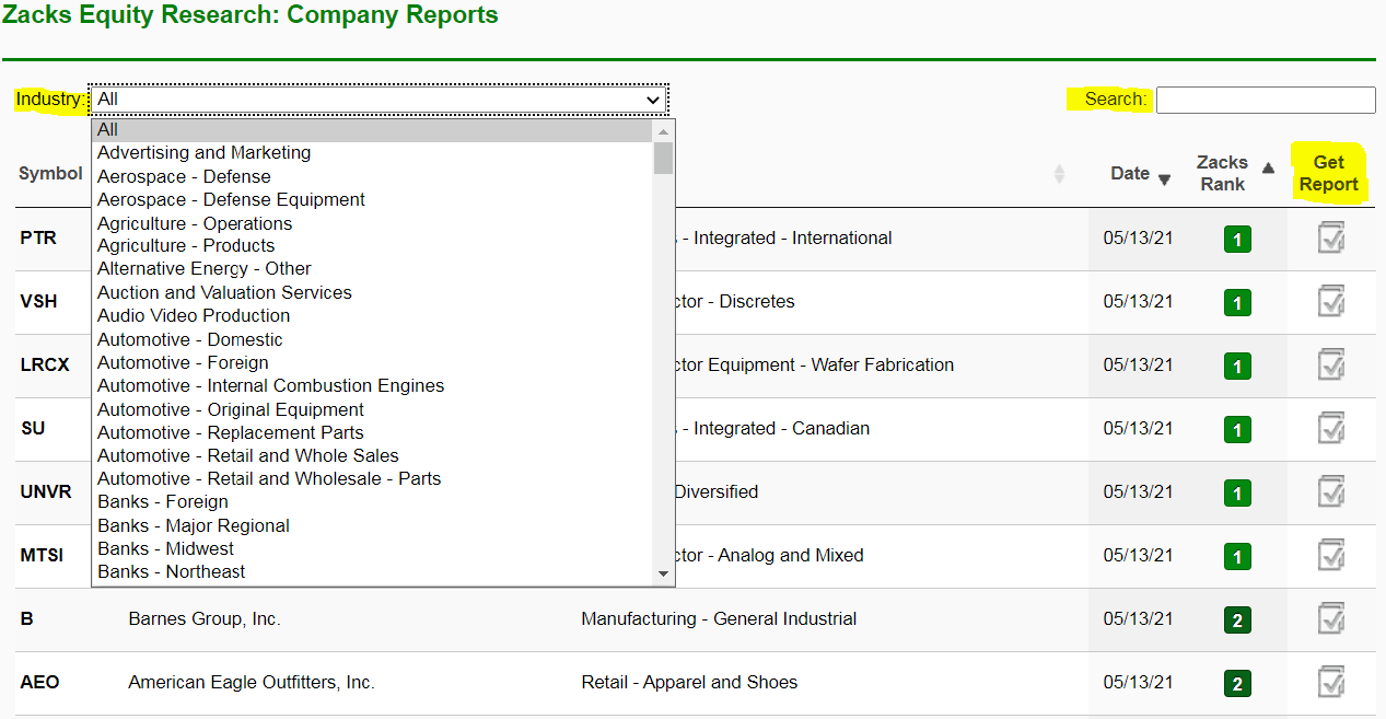 Zacks Research Reports